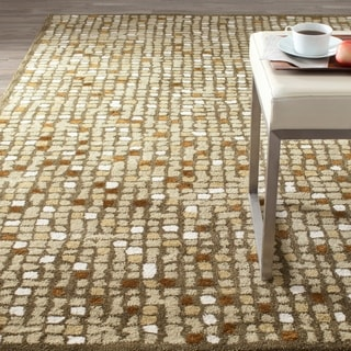 Martha Stewart Mosaic Oolong Tea Green Wool/ Viscose Rug (9' x 12')