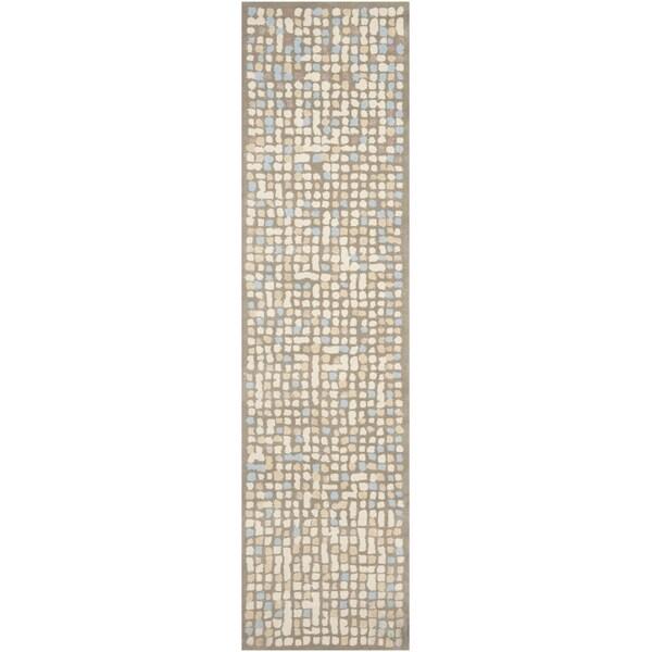 Martha Stewart Mosaic Hickory/ Beige Wool/ Viscose Rug (2' 6 x 10')