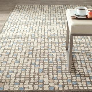 Martha Stewart Mosaic Hickory/ Beige Wool/ Viscose Rug (5' x 8')