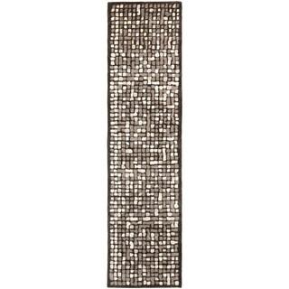 Martha Stewart Mosaic Wampum Purple Wool/ Viscose Rug (2' 6 x 10')