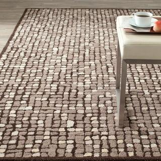 Martha Stewart Mosaic Wampum Purple Wool/ Viscose Rug (4' x 6')