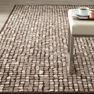 Martha Stewart Mosaic Wampum Purple Wool/ Viscose Rug (5' x 8')