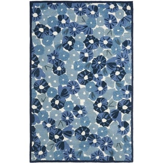 Martha Stewart Poppy Field Azurite Blue Wool/ Viscose Rug (5' x 8')