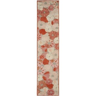 Martha Stewart Poppy Field Cayenne Red Wool/ Viscose Rug (2' 3 x 10')