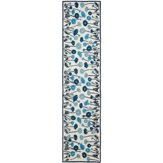 Martha Stewart Poppy Glossary Azurite Blue Wool/ Viscose Rug (2' 3 x 10')