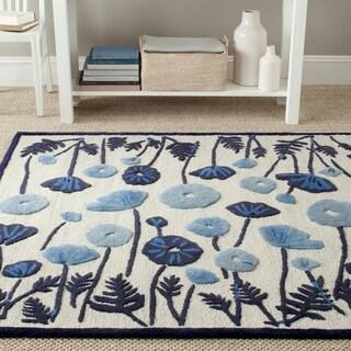 Martha Stewart Poppy Glossary Azurite Blue Wool/ Viscose Rug (4' x 6')