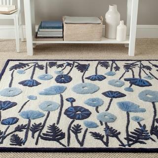Martha Stewart Poppy Glossary Azurite Blue Wool/ Viscose Rug (5' x 8')