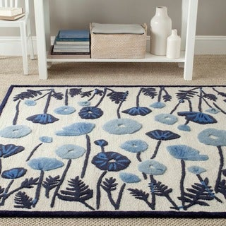 Martha Stewart Poppy Glossary Azurite Blue Wool/ Viscose Rug (8' x 10')