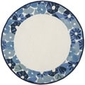 Martha Stewart Poppy Border Azurite Blue Wool/ Viscose Rug (6' Round)