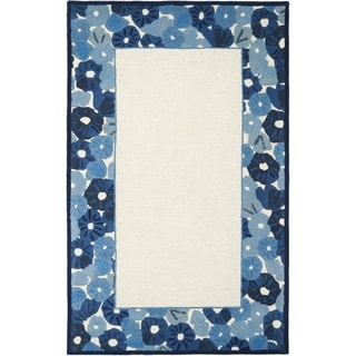 Martha Stewart Poppy Border Azurite Blue Wool/ Viscose Rug (9' x 12')