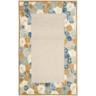 Martha Stewart Poppy Border Cornucopia Beige Wool/ Viscose Rug (9' x 12')