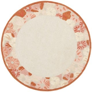 Martha Stewart Poppy Border Cayenne Red Wool/ Viscose Rug (6' Round)