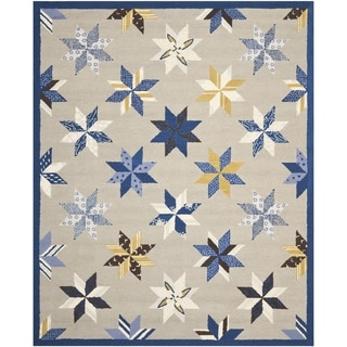 Martha Stewart Lemoyne Star Azurite Blue Wool Rug (8' x 10')
