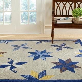 Martha Stewart Lemoyne Star Azurite Blue Wool Rug (9' x 12')