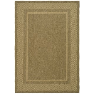 Martha Stewart Color Frame Coffee/ Sand Indoor/ Outdoor Rug (4' x 5' 7)