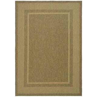 Martha Stewart Color Frame Coffee/ Sand Indoor/ Outdoor Rug (4' x 5' 7)