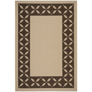 Martha Stewart Mallorca Border Cream/ Chocolate Indoor/ Outdoor Rug (4' x 5' 7)
