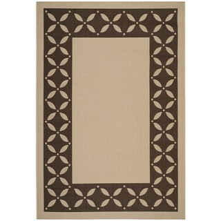 Martha Stewart Mallorca Border Cream/ Chocolate Indoor/ Outdoor Rug (5' 3 x 7' 7)