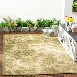 Martha Stewart Paradise Cream/ Green Indoor/ Outdoor Rug (6' 7 x 9' 6)