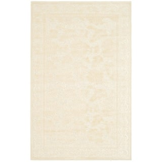 Martha Stewart Peony Damask Cream Viscose Rug (2' 7 x 4')