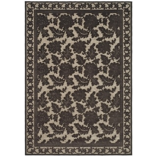 Martha Stewart Peony Damask Light Brown Viscose Rug (4' x 5' 7)