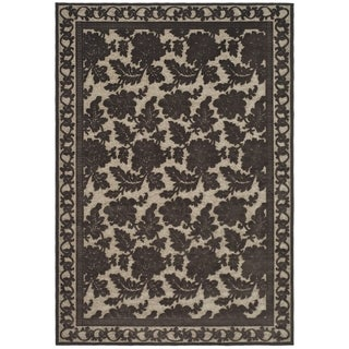 Martha Stewart Peony Damask Light Brown Viscose Rug (5' 3 x 7' 6)