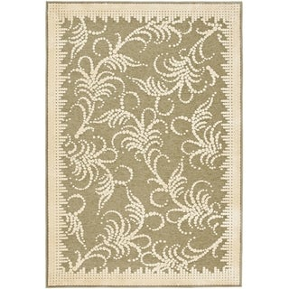 Martha Stewart Fountain Swirl Green/ Ivory Viscose Rug (5' 3 x 7' 6)