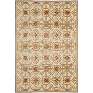 Martha Stewart Imperial Palace Taupe/ Cream Viscose Rug (4' x 5' 7)