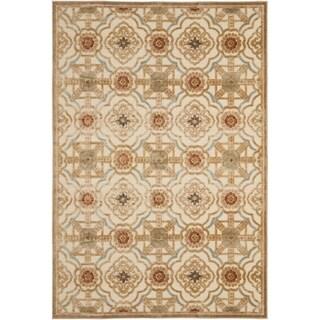Martha Stewart Imperial Palace Taupe/ Cream Viscose Rug (5' 3 x 7' 6)