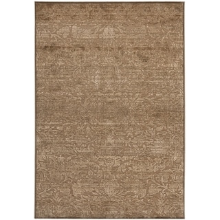 Martha Stewart Heritage Bloom Soft Anthracite/ Camel Viscose Rug (5' 3 x 7' 6)