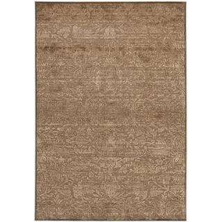 Martha Stewart Heritage Bloom Soft Anthracite/ Camel Viscose Rug (5' 3 x 7' 6)