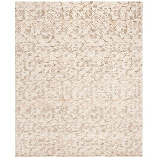 Martha Stewart Abstract Trellis Wheat Beige Silk/ Wool Rug (8' x 10')