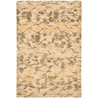 Martha Stewart Abstract Trellis Wheat Beige Silk and Wool Rug (9' x 12')