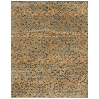 Martha Stewart Abstract Trellis Husk Brown Silk and Wool Rug (8' x 10')