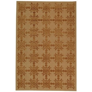 Martha Stewart Tracery Rose/ Wood Silk and Wool Rug (9' 6 x 13' 6)