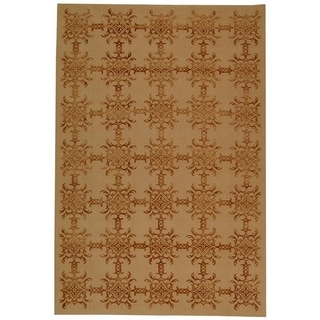 Martha Stewart Tracery Rose/ Wood Silk and Wool Rug (7' 9 x 9' 9)