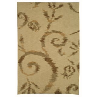 Martha Stewart Damask Vine Raw Umber Silk and Wool Rug (7' 9 x 9' 9)