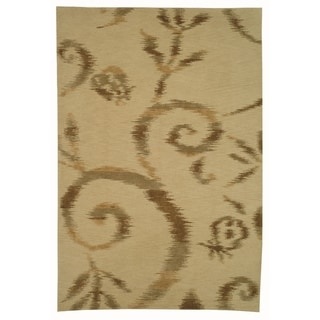 Martha Stewart Damask Vine Raw Umber Silk/ Wool Rug (8' 6 x 11' 6)