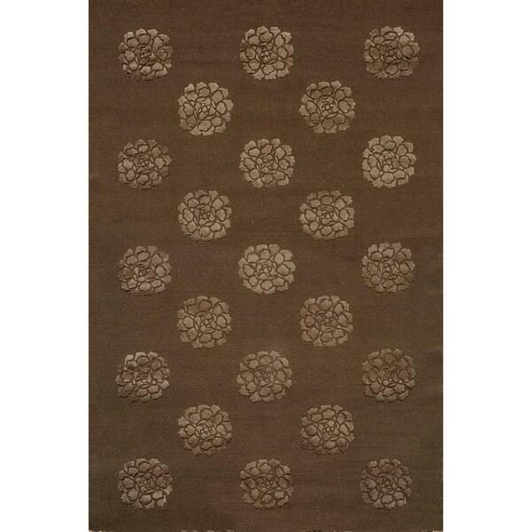 Martha Stewart Medallions Onyx Silk/ Wool Rug (7' 9 x 9' 9)