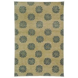 Martha Stewart Medallions Aqua/ Marine Silk/ Wool Rug (7' 9 x 9' 9)