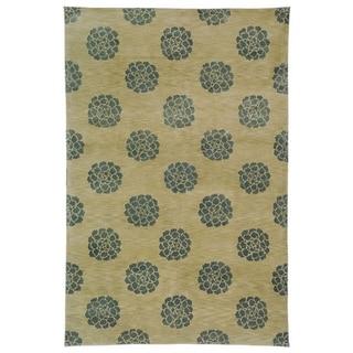 Martha Stewart Medallions Aqua/ Marine Silk/ Wool Rug (8' 6 x 11' 6)