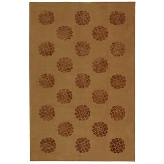 Martha Stewart Medallions Cocoa Silk/ Wool Rug (9' 6 x 13' 6)