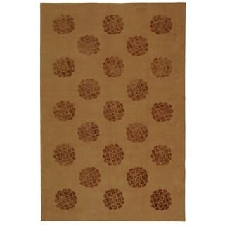 Martha Stewart Medallions Cocoa Silk/ Wool Rug (7' 9 x 9' 9)