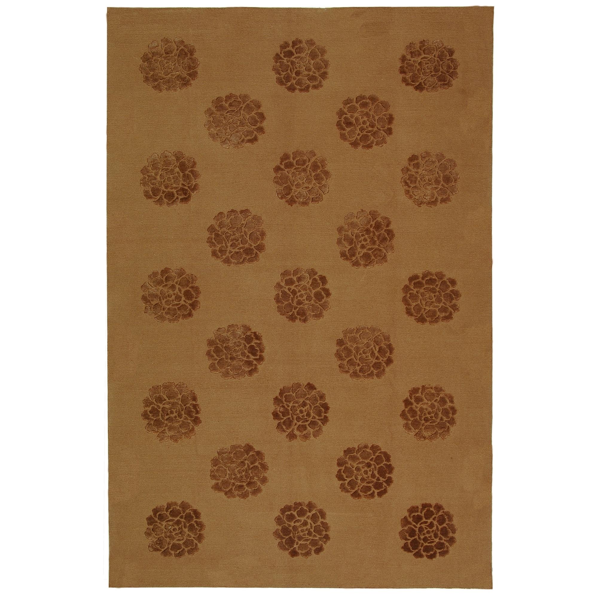 Martha Stewart Medallions Cocoa Silk/ Wool Rug (8' 6 x 11' 6)