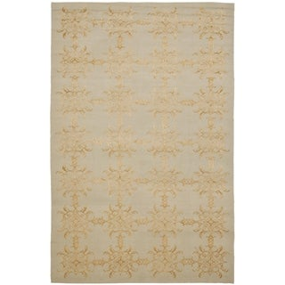 Martha Stewart Tracery Grey/ Beige Silk/ Wool Rug (9' 6 x 13' 6)