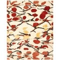 Martha Stewart Abstract Trellis Bard Red Silk and Wool Rug (6' x 9')