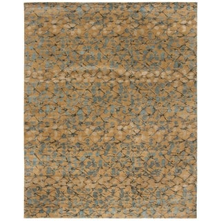 Martha Stewart Abstract Trellis Husk Brown Silk/ Wool Rug (9' x 12')