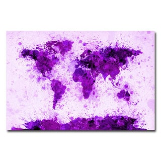 Michael Tompsett 'World Map- Purple Paint Splashes' Canvas Art