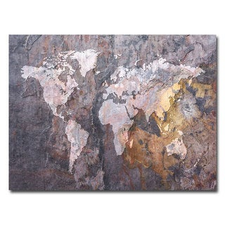 Michael Tompsett &#39;World Map- Rock&#39; Canvas Art