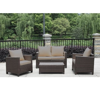 Portfolio Kenyon Valley Brown Wicker Indoor/Outdoor 4-piece Loveseat Set